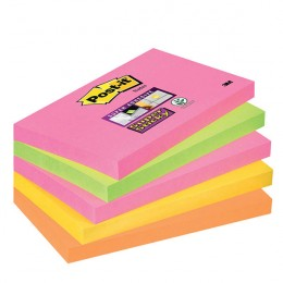 3M Post-It Super Sticky Notes 76x127mm Neon Rainbow