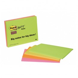 3M Post-It Super Sticky Notes Neon 200x149mm [Pack of 4]