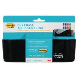 Post-it Dry Erase Black Accessory Tray with 4 Large Command Strips