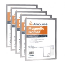 Announce Magnetic Frames A3 Silver [Pack of 5]