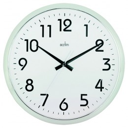 Acctim Orion Silent Wall Clock White and Chrome