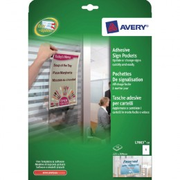 Avery Adhesive Sign Pockets 221x304mm L7083-10 [Pack of 10]