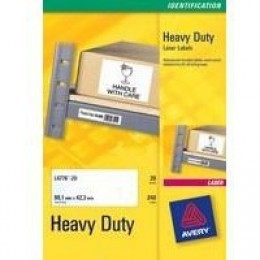 Avery Laser Label Heavy Duty 12/Sht 20/Pk White