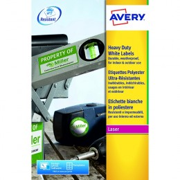 Avery L7068-20 Laser Labels Heavy Duty 2/Sheet White [20 Sheets]