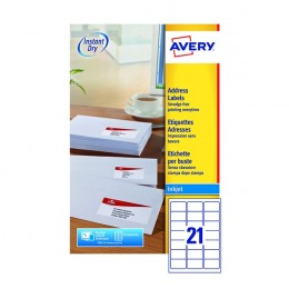 Avery Inkjet Labels 21/Sheet 63.5x38.1mm J8160-25 [25 Sheets]