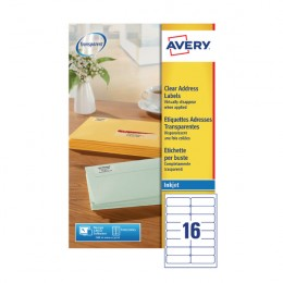 Avery Clear Inkjet Address Labels 16/Sheet 99.1x34mm J8562-25 [25 Sheets]