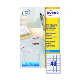 Avery Inkjet Mini Labels 40/Sheet White 45.7x25.4mm J8654-25 [25 Sheets]