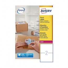 Avery BlockOut Laser Labels 2/Sheet 199.6x143.5mm L7168-100 [100 Sheets]