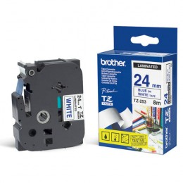 Brother TZE253 P-Touch Tape 24mm Blue on White
