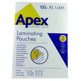Fellowes Apex Laminating Pouch A3 Light Duty Clear [Pack of 100]