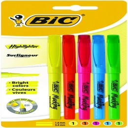Bic Brite Liner Highlighters Assorted [Pack of 5]