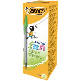 Bic Cristal Fun Lime Green Ball Pen [Pack of 20]