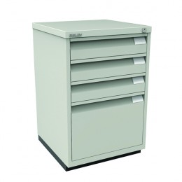 Bisley Filing Cabinet 3 Small Drawer plus 1 Large Drawer Grey [Alternative Picture 1]
