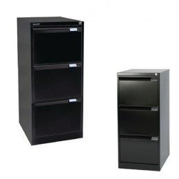Bisley Filing Cabinet 3 Drawer Lockable Flush Black [Alternative Picture 1]