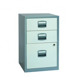 Bisley A4 Home Filer 3 Drawer Silver and White