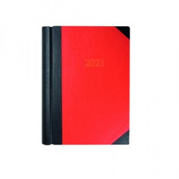 Collins A4 Diary Two Pages per Day Black and Red with Marble Edge 2021