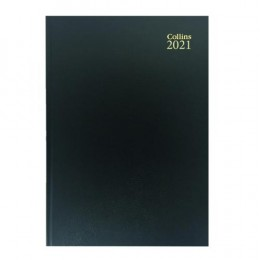 Collins A4 Desk Diary Day per Page 2021 Black