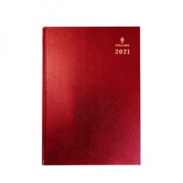 Collins A5 Desk Diary Day per Page 2021 Red
