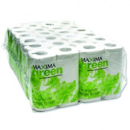 Maxima Green 200 Sheet Toilet Roll White [Pack of 48]