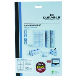 Durable Badgemaker Inserts 54x90mm [Pack of 200]