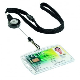 Durable Textile Lanyard with Badge Reel Black [Pack of 10]
