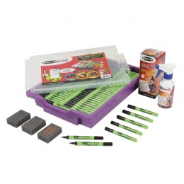 Show-Me Dry Wipe Pens in Gratnells Tray [Pack of 200+Free Cleaner+Erasers]