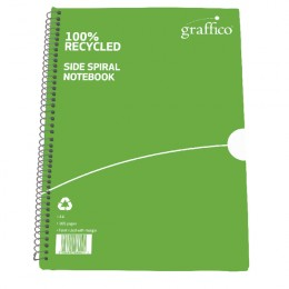 Graffico Recycled Spiral Bound A4 Notebook Feint Ruled 100 Pages [Pack of 10]