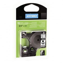 Dymo D1 Permanent Tape 19mmx5.5m Black on White