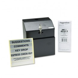 Safco Locking Steel Suggestion Box Black
