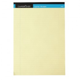 Cambridge Legal Memo A4 Pad 100 Pages Ruled with Margin Yellow [Pack of 10]
