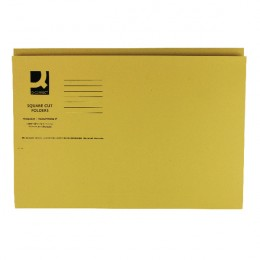 Q-Connect Square Cut Folder Mediumweight Foolscap Yellow [Pack of 100]
