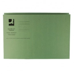 Q-Connect Square Cut Folder Mediumweight Foolscap Green [Pack of 100]
