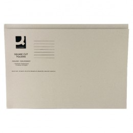 Q-Connect Square Cut Folder Mediumweight Foolscap Buff [Pack of 100]