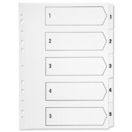 Q-Connect 1-5 Polypropylene Indexes in White