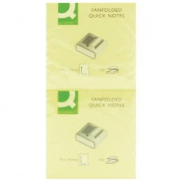 Q-Connect Fanfold Quick Notes 75x75mm Yellow [Pack of 12]