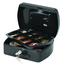Q-Connect 8 Inch Cash Box Black