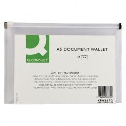Q-Connect Document Wallet Zip A5 Transparent [Pack of 10]