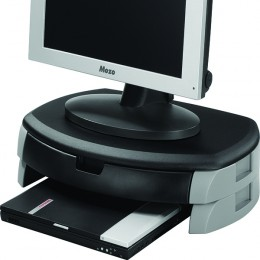 Q-Connect Monitor or Printer Stand with Drawer Black