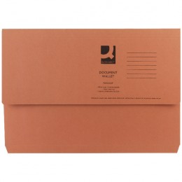 Q-Connect Document Wallet Foolscap Orange [Pack of 50]