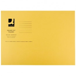 Q-Connect Square Cut Folder Lightweight Foolscap Yellow [Pack of 100]
