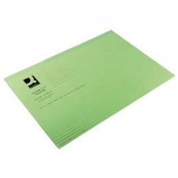 Q-Connect Square Cut Folder Lightweight Foolscap Green [Pack of 100]