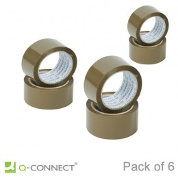 Q-Connect Packaging Tape 50mmx66m [Pack of 6]