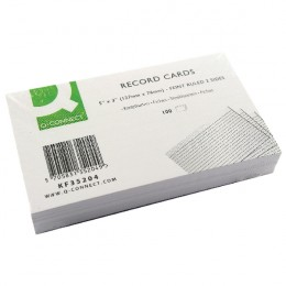 Q-Connect Record Card 5x3 Inches Feint Ruled White [Pack of 100]