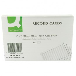 Q-Connect Record Card 6x4 Inches Feint Ruled White [Pack of 100]