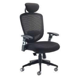 Arista Mesh High Back Task Chair with Headrest Black