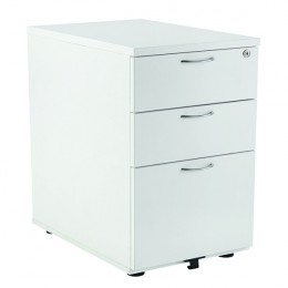 Jemini 3 Drawer Desk High Pedestal 600mm White