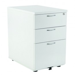 Jemini 3 Drawer Desk High Pedestal 800mm White