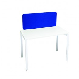 Jemini Straight Rounded Corner Screen Blue with Silver Trim 1600mm