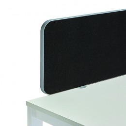 Jemini Straight Rounded Corner Screen Black with Silver Trim 1600mm