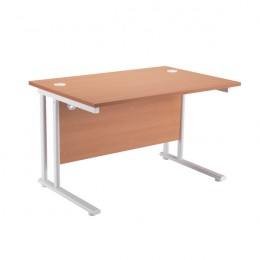 Starter Rectangular Cantilever Desk 1600mm Beech with White Legs